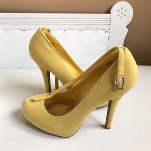 "YELLOW FAUX SUEDE 4.25"" PUMPS WITH ANKLE STRAP"